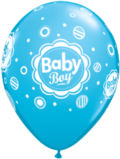 Baby Boy Dots Blue Balloons 6 Pack